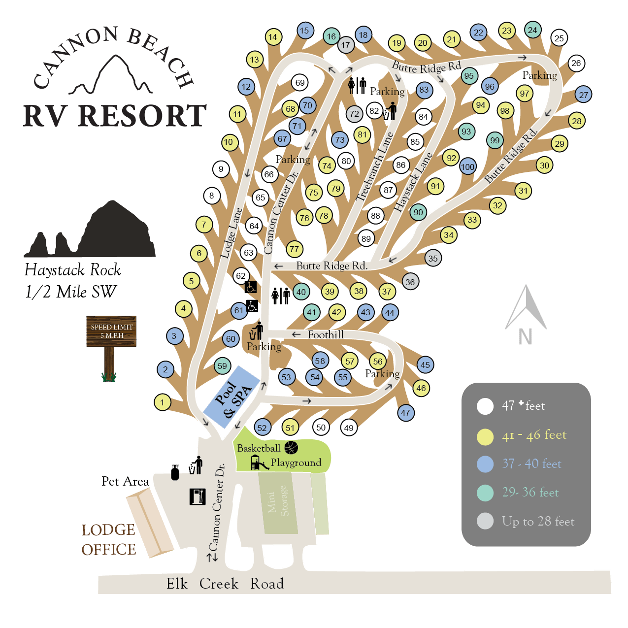 Cannon Beach RV Resort Map